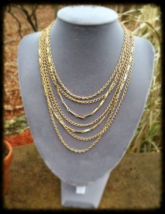VINTAGE 1950s Gold Multi Strand Layered Chain