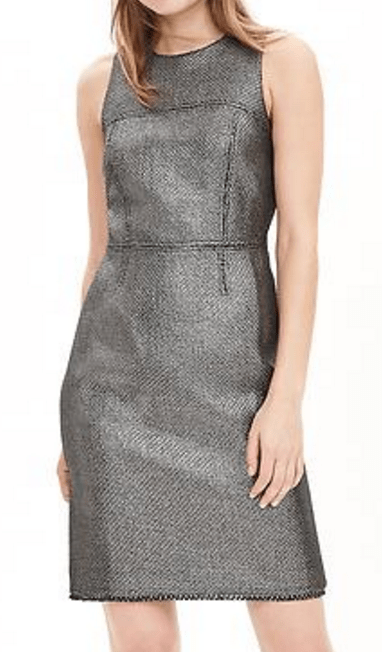 banana-republic-save-spend-splurge-review-metallic-tweed-dress