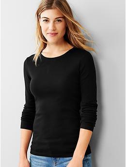 Favorite long-sleeve crew tee - true black knit