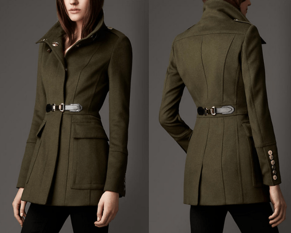 kate-beckett-burberry-green-olive-jacket-buckle-detail-wool-cashmere-coat