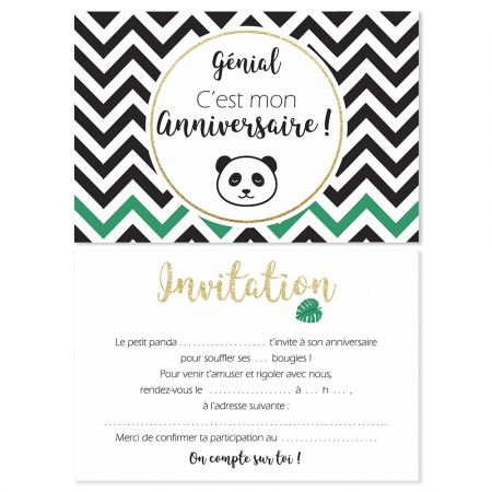 5 cartes d invitation panda 5 enveloppes