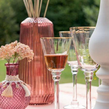 vase strie en verre fume vieux rose 24 50 cm