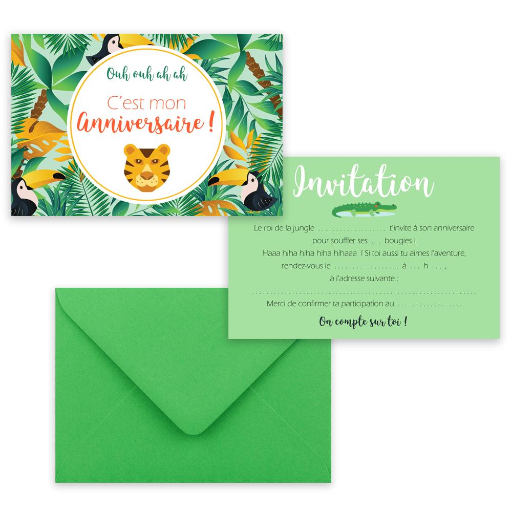 5 cartes d invitation jungle 5 enveloppes
