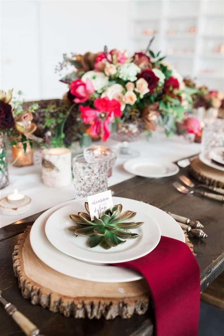 mariage hiver deco de table