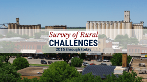 """Photo of a small downtown, with the label """"Survey of Rural Challenges 2015 through today"""""""