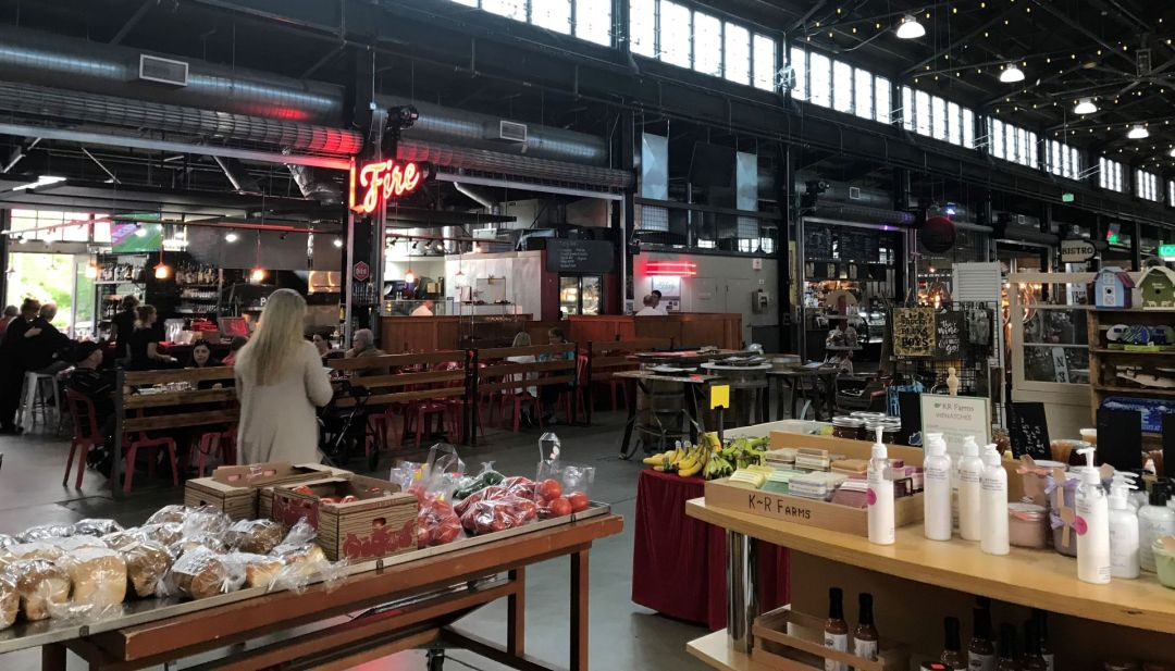 Food hall with cafes, food stalls and local products.