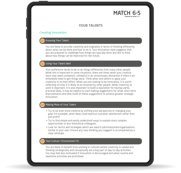 Match 6.5 candidate report on an iPad