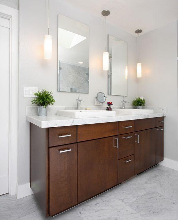bathroom lighting above the mirror