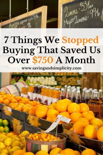 Shopping sales, meal planning, using coupons, looking at what you are spending money on. Learn the 7 things we stopped buying to save over $750 a month.