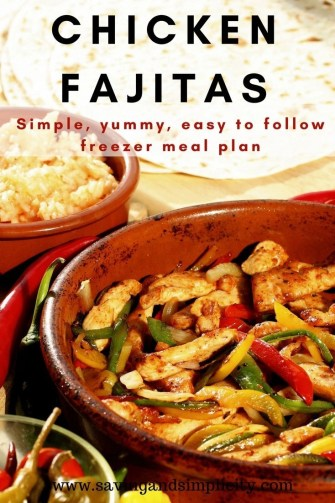 Simple, easy to follow recipe for a delicious chicken fajita dinner. Yummy family friendly freezer meals. Cheap, easy, healthy meal ideas. Frugal recipe.