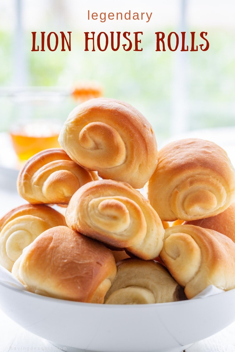 Soft and fluffy, buttery and delicious, these amazing Lion House Rolls have stood the test of time. A delicious recipe for homemade rolls with freeze ahead directions. #savingroomfordessert #rolls #lionhouserolls #bread #homemaderolls