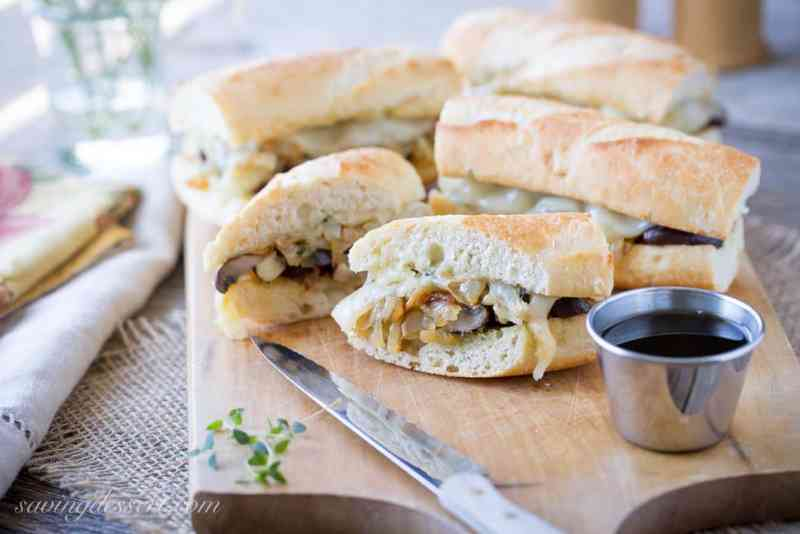 Vegetarian French Dip with Mushroom Jus, Caramelized Onions and Melted Provolone Cheese