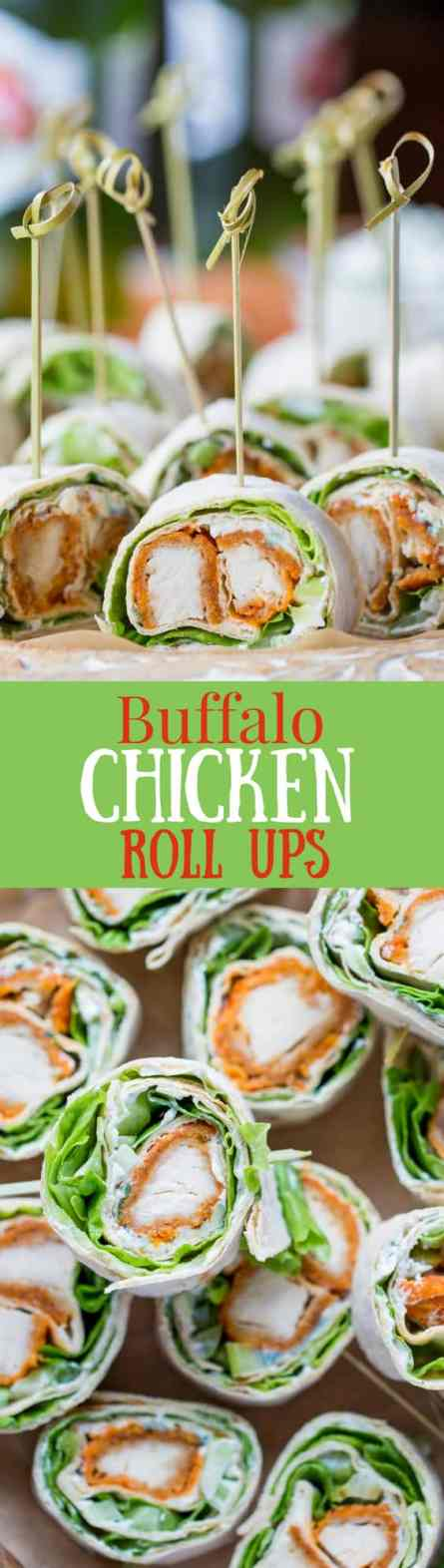 Buffalo Chicken Roll Up Appetizers ~ made with all-natural frozen chicken tenders tossed in hot sauce, then rolled up with a homemade blue cheese dip, celery, and crisp lettuce. blue cheese   buffalo chicken   appetizer   roll ups   wraps   www.savingdessert.com