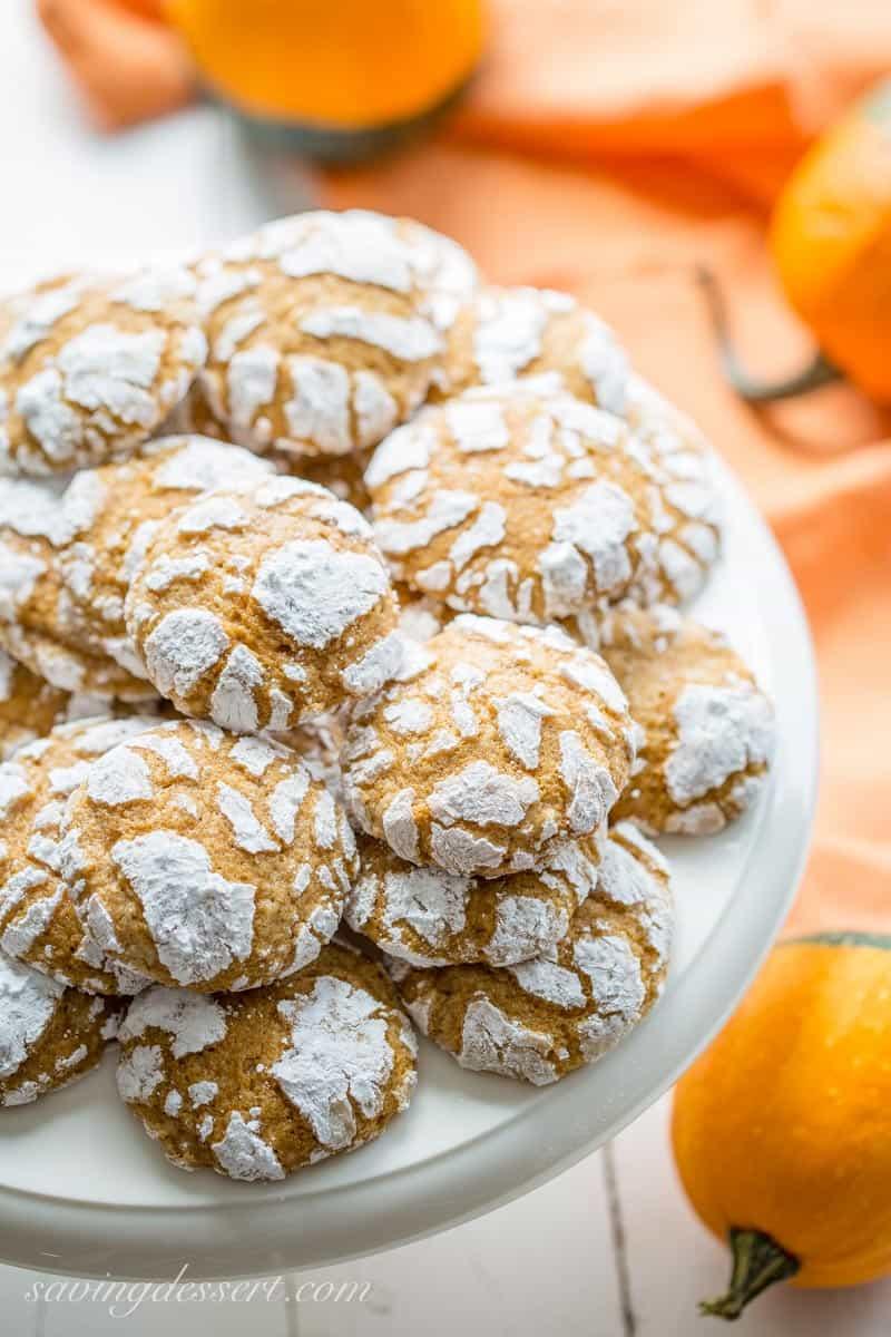 Pumpkin Crinkle Cookies on a cake plate