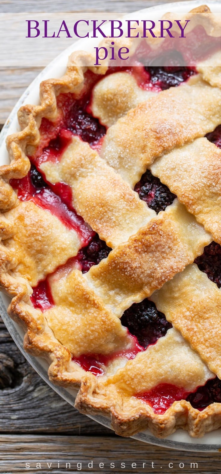 Homemade Blackberry Pie with a buttery, flaky crust and loaded with fresh juicy berries. Nothing says home like a hand crafted pie. #homemadepie #pie #blackberrypie #summerpie #fruitpie #blackberries #blackberry