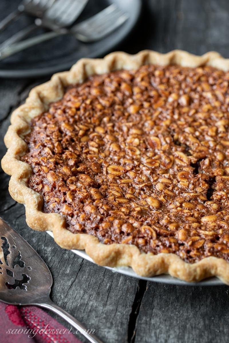 A rustic chocolate peanut pie