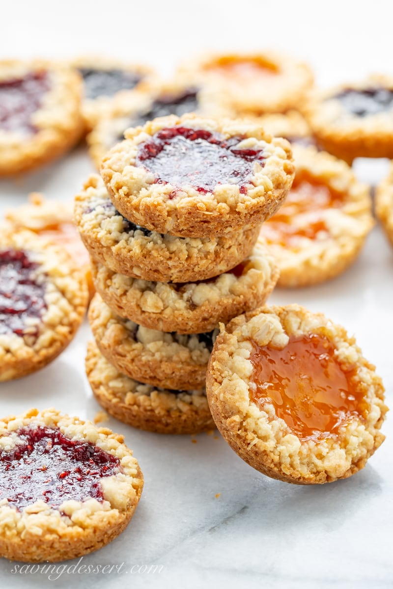 A stack of oatmeal jammy cookies