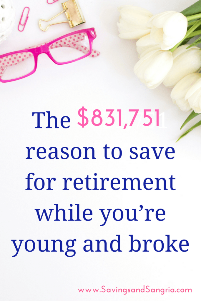 Think you can wait to save for retirement? We have an $831,751 reason for you to start today! Here's how you can use the magic of compound interest to transform your retirement savings! Click through to see how much you can save! www.savingsandsangria.com