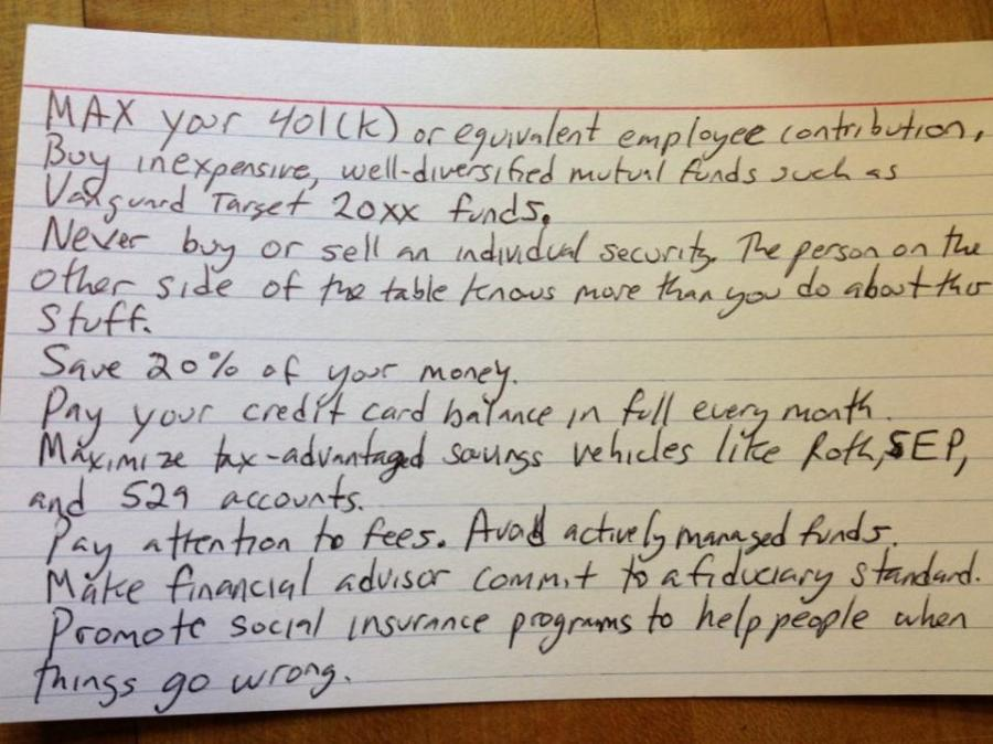Pollack's personal finance index card