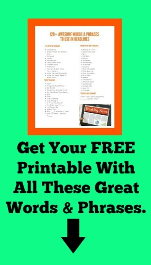 125 Words & Phrases For Blog Post Headlines Printable