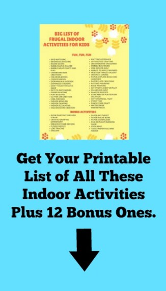 Big List Printable of Frugal Indoor Activities For Kids