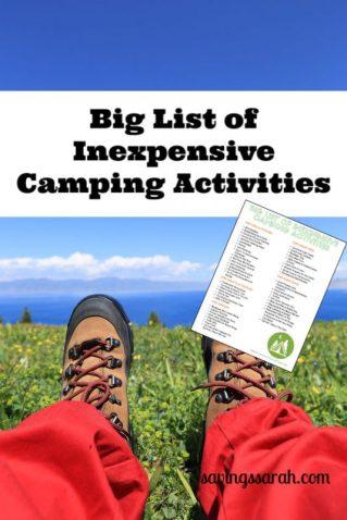 Big List of Inexpensive Camping Activities