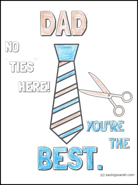 Father's Day Coloring Sheet Colored