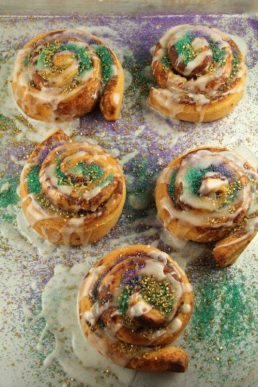 Cinnamon Rolls Purple Green Sugar