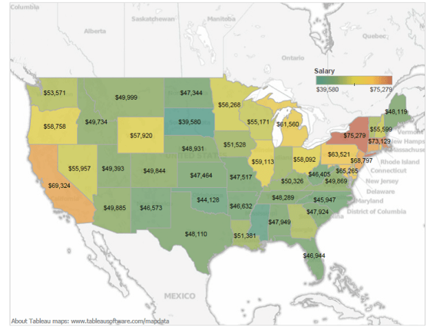 average teacher salary map