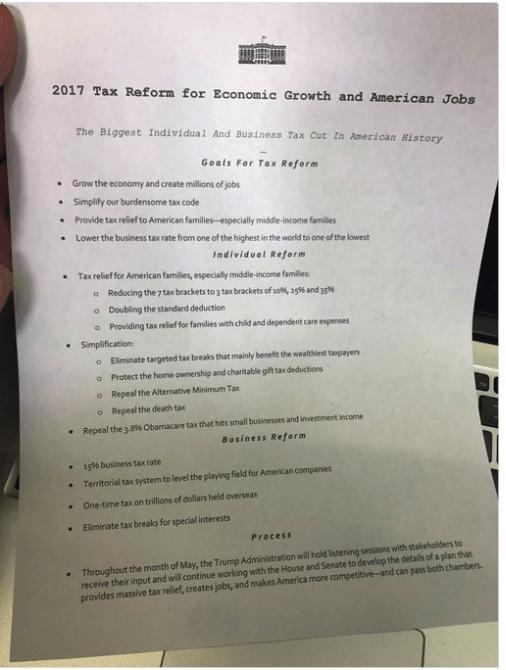 Trump Tax Plan Update