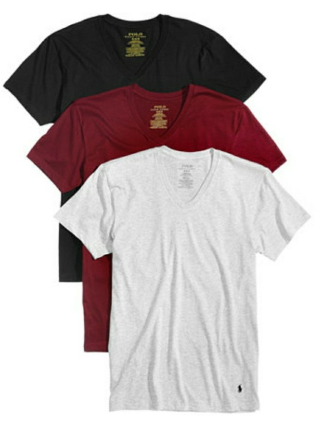 d373498a7 ... head on over to Macys.com where you'll find this 3-pack of Polo Ralph  Lauren Men's Cotton Crew Tees or this 3-pack of V-Neck T-Shirts on sale for  $29.62 ...