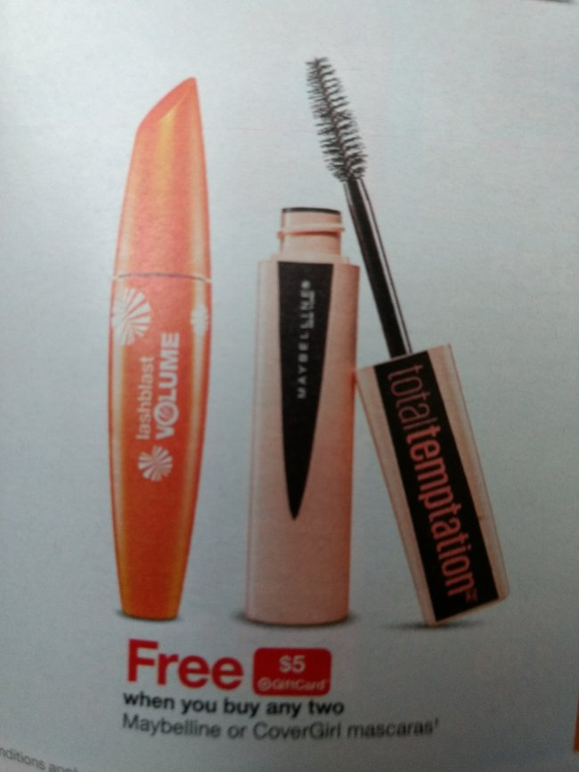 c2afe53d4b3 Through May 26th, Target is offering a FREE $5 Target Gift Card with the  purchase of two select Maybelline and/or CoverGirl Mascaras – both in store  and ...