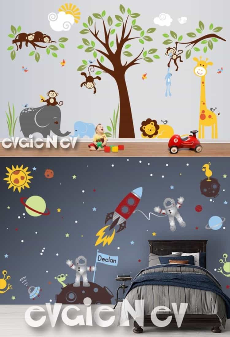 Safari Wall Decals and Custom Flag Name Outer Space Wall Decals