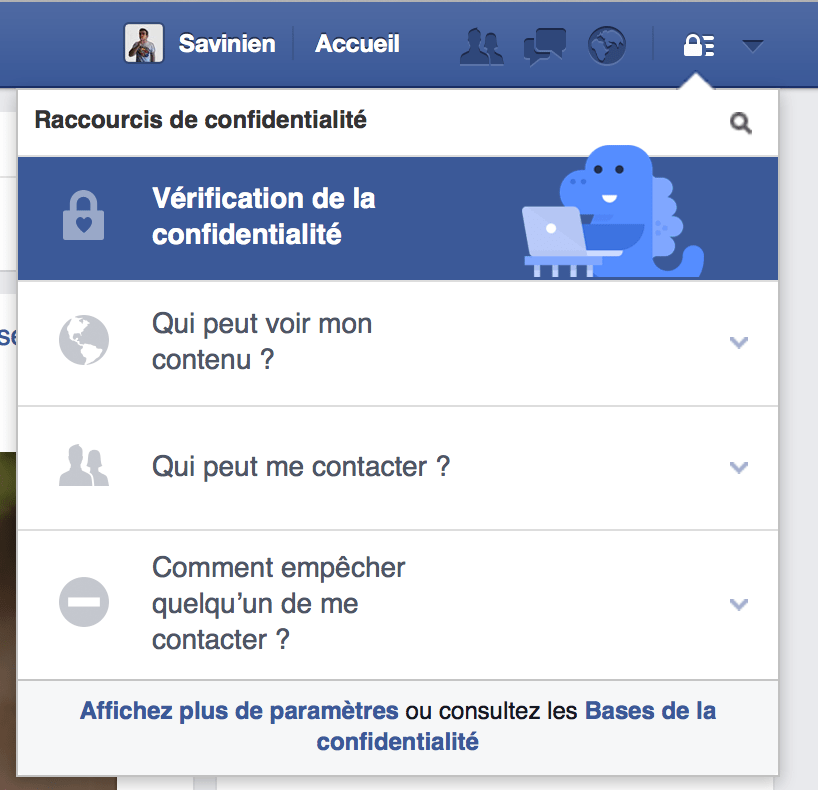 Vérification de la confidentialité Facebook