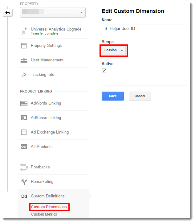 Google Analytics Hotjar Dimension