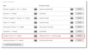 Google Analytics Dimension Tracking of Hotjar User ID
