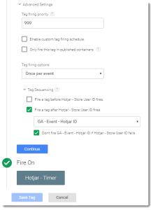 Hotjar - Store User ID to Local Storage settings