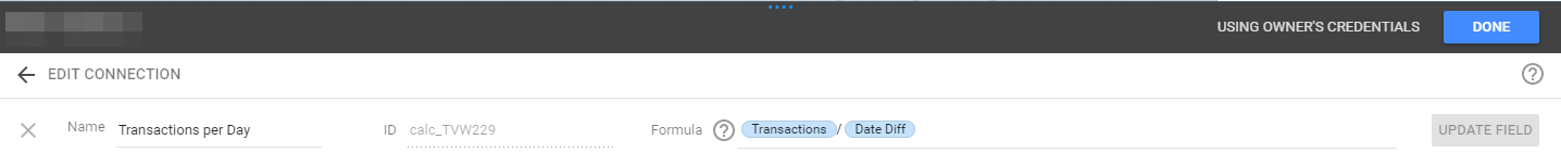 Data Studio Transactions per Day formula