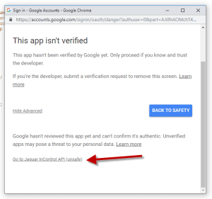 Google App Scripts Authorization: Go To Jaguar InControl API (unsafe)