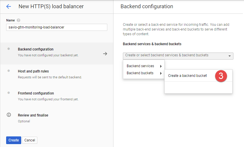 Cloud Load Balancer - Create Backend Bucket