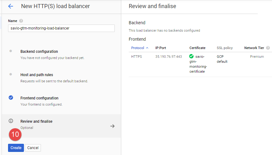 Cloud Load Balancer - Review Setting - Click Create button