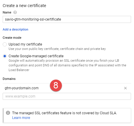 Cloud Load Balancer - Frontend settings- SSL Certificate settings