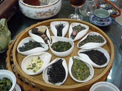 Trying different kinds of teas in China