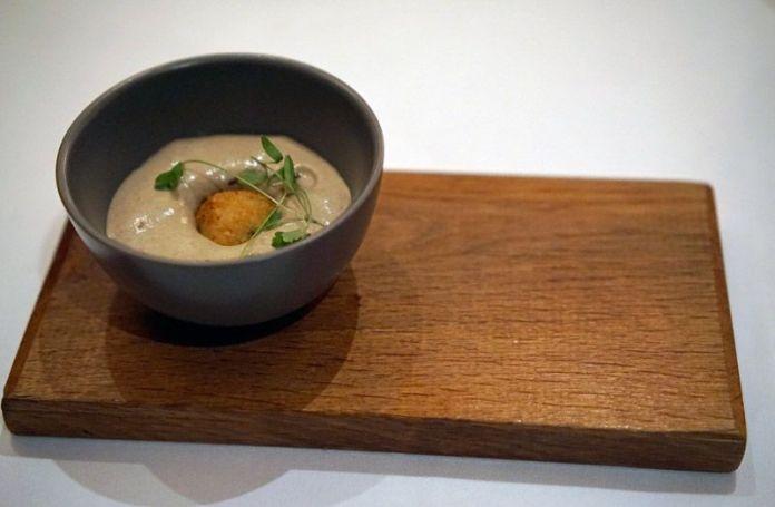 Airy mushroom soup amuse bouche