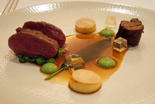 Slow-cooked fillet of beef with black pudding.