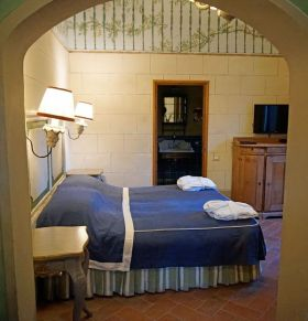The two-story bedroom we stayed in at Villa Bordoni