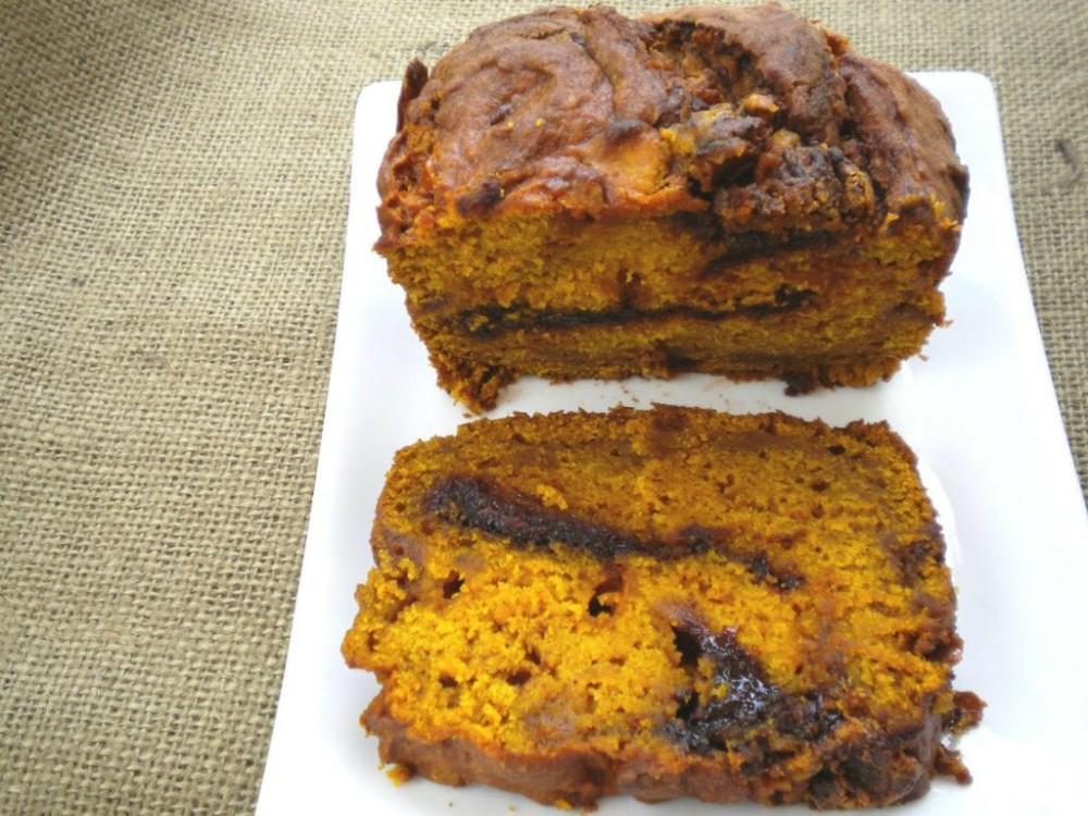 overhead image of pumpkin butterscotch nutella bread