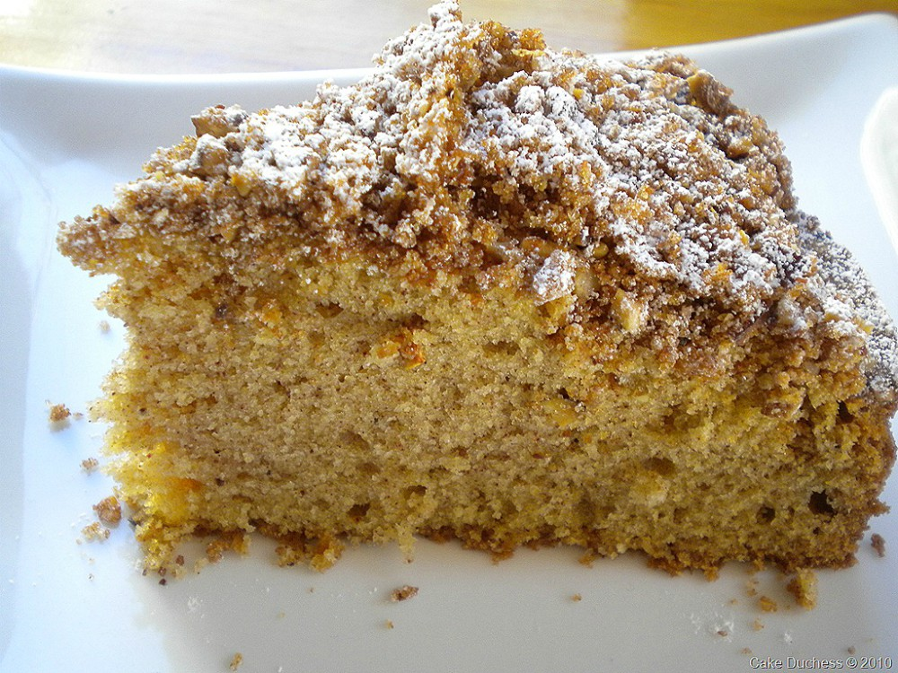 overhead image of overnight cinnamon pecan coffee cake