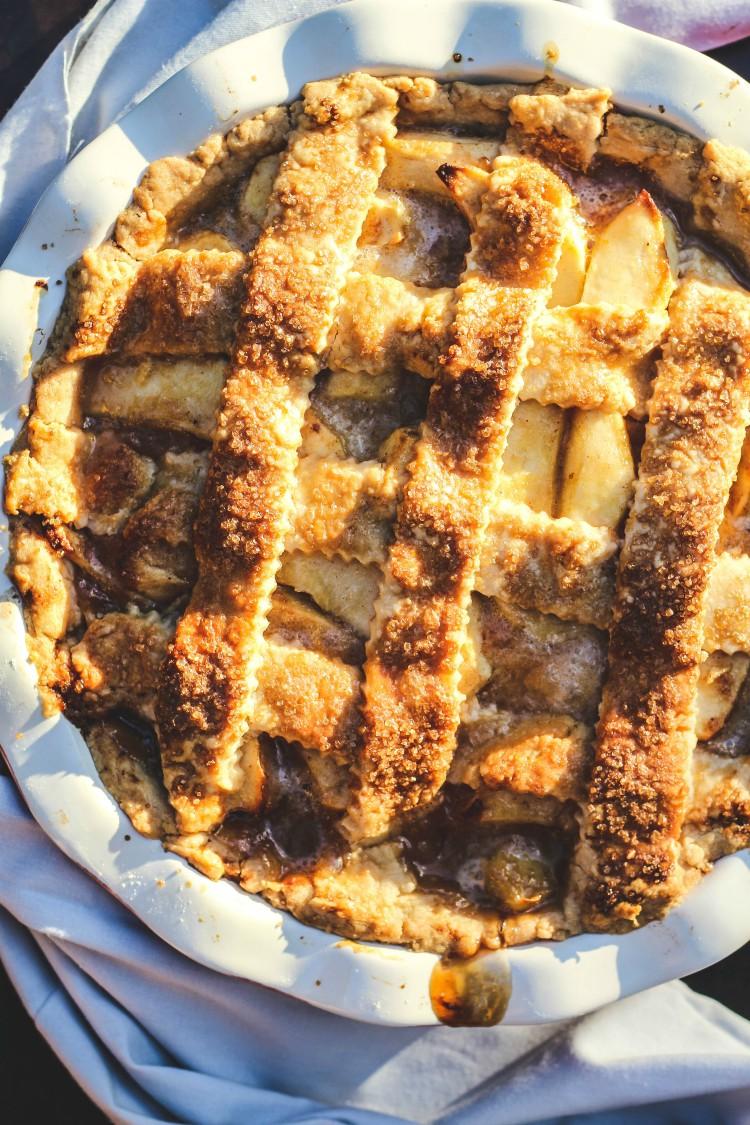 overhead image of salted caramel apple pie
