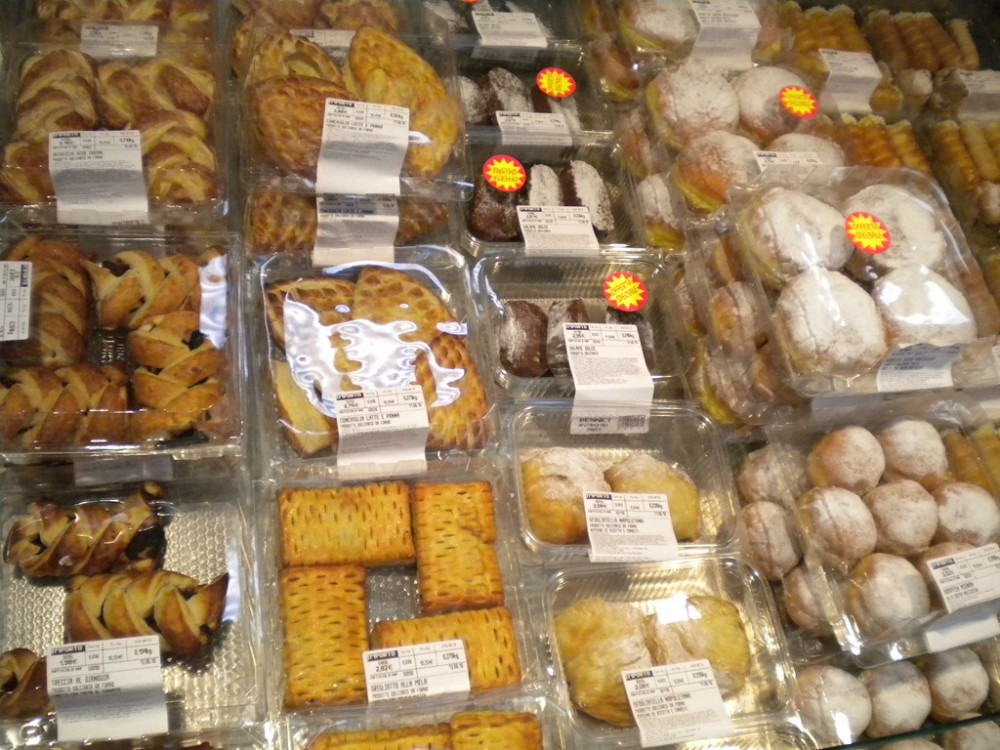 overhead image of pastries in italy